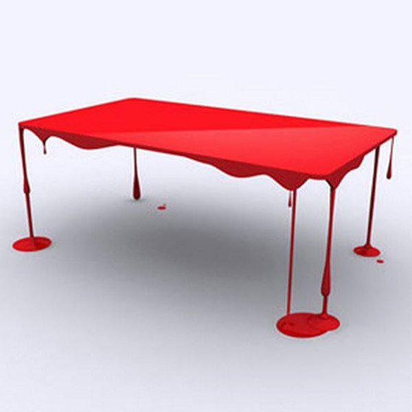Chiếc bàn này lại mang màu sắc trẻ trung với phong cách độc lạ như bị chảy sơn, chắc chắn sẽ khiến tất cả khách đến nhà phải tròn mắt ngạc nhiên!