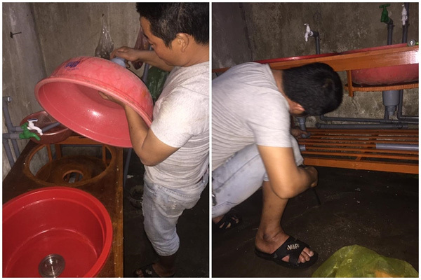 Chồng chị Phú còn đục lỗ ở đáy chậu, lắp ống để làm chỗ thoát nước, tiện lợi không kém gì bồn rửa inox.