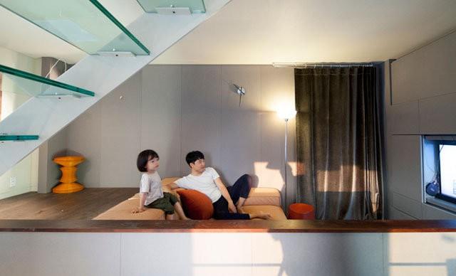 Phòng khách và bếp được đặt ở tầng 3.