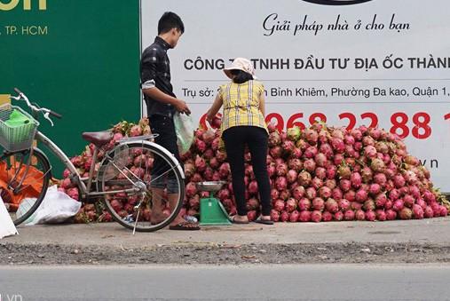 Một điểm bán thanh long trên lề đường tại quận Gò Vấp. Ảnh: Việt Đức.
