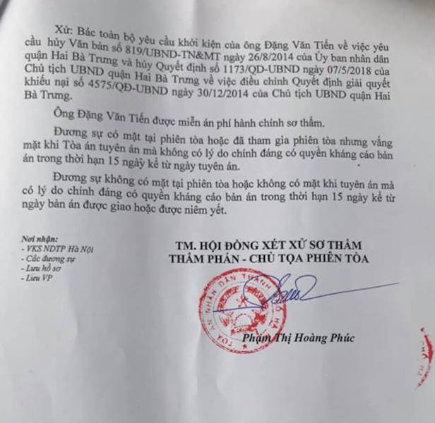 TAND TP Hà Nội đã tuyên bác toàn bộ yêu cầu khởi kiện của ông Đặng Văn Tiến