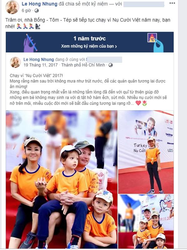 Hồng Nhung chia sẻ lại hình ảnh hạnh phúc 1 năm trước của mình.