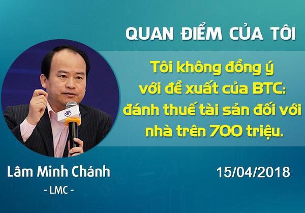 Doanh nhân Lâm Minh Chánh thể hiện quan điểm trước đề xuất của Bộ Tài chính.