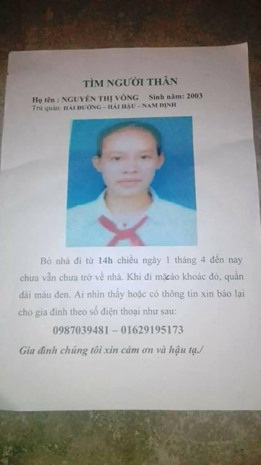 Bé Nguyễn Thị Vòng bị mất tích 3 ngày nay. Ảnh: Gia đình cung cấp