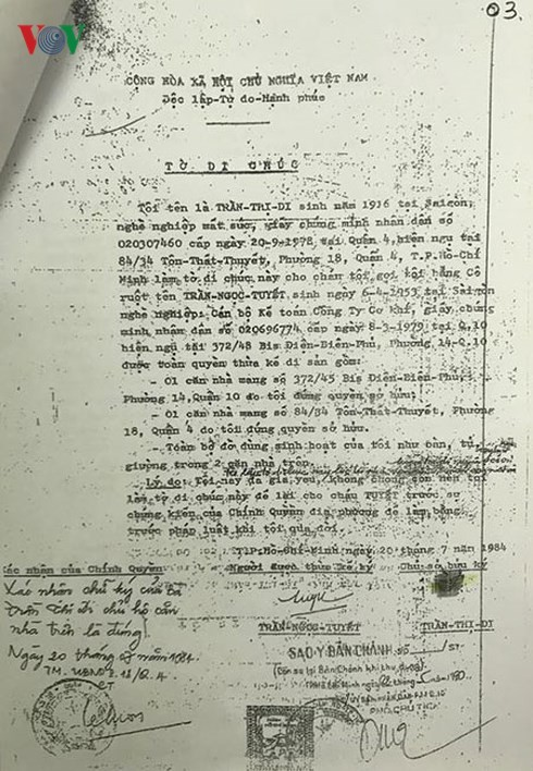 Bản di chúc được lập năm 1984, bà Trần Thị Ngọc Nga cho rằng không đúng với cơ sở pháp luật.