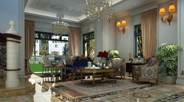 Phòng khách mang phong cách Tân cổ điển sang trọng, có một sảnh rộng với 3 góc view hướng ra sân vườn và dòng kênh xanh.