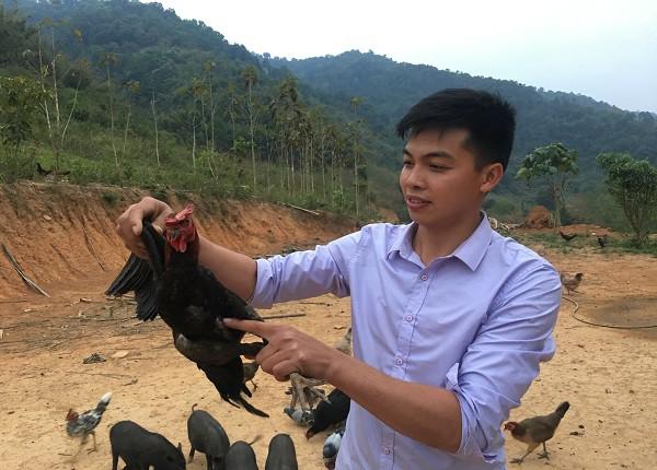 Anh Tủi đang kiểm tra sức khỏe định kỳ cho đàn gà đen tại trang trại