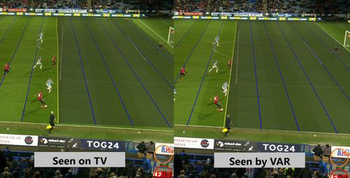 Tình huống xác định đối với góc quay thông thường (bên trái) có thể thấy cầu thủ đã việt vị, nhưng nếu sử dụng hệ thống camera của VAR (bên phải) thì không, vì khi chuyền, cầu thủ của cả hai đều đứng ngang hàng.