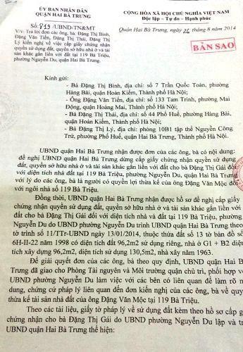 Thông báo số 819/UBND-TN&MT của UBND quận Hai Bà Trưng