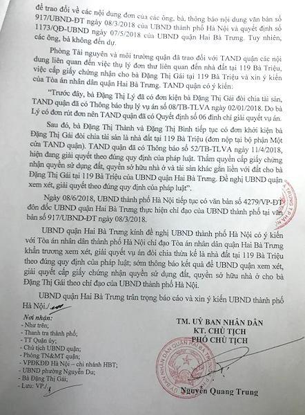 Công văn số 887/UBND-TNMT của UBND quận Hai Bà Trưng gửi UBND TP. Hà Nội