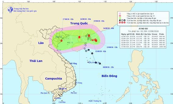 Vị trí và đường đi của áp thấp nhiệt đới. Ảnh: NCHMF
