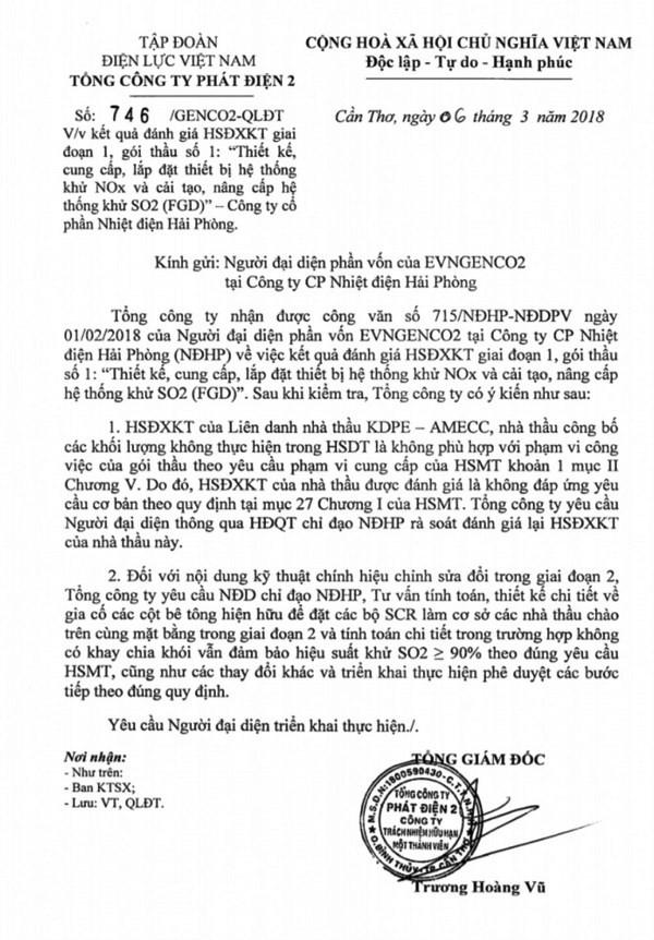 Công văn của Genco 2 trả lời Công ty CP Nhiệt điện Hải Phòng
