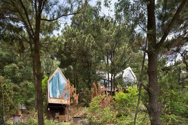 """""""Nhà bên rừng 2"""" (Forest House 2) là một căn nhà gỗ nằm chênh vênh bên vách đồi thông tại Sóc Sơn, Hà Nội."""