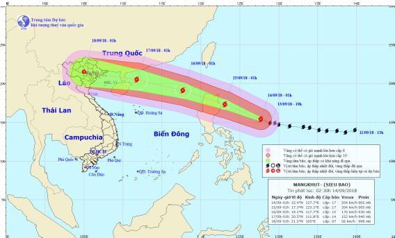 Vị trí và đường đi của bão Mangkhut. Ảnh: NCHMF