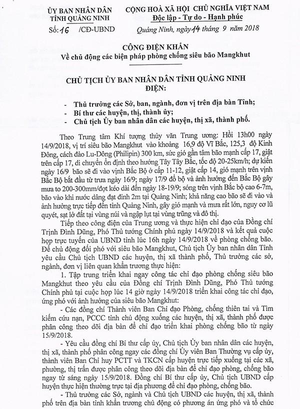 Công điện của tỉnh Quảng Ninh ban hành ngày 14/9 về chủ động các biện pháp phòng chống siêu bão