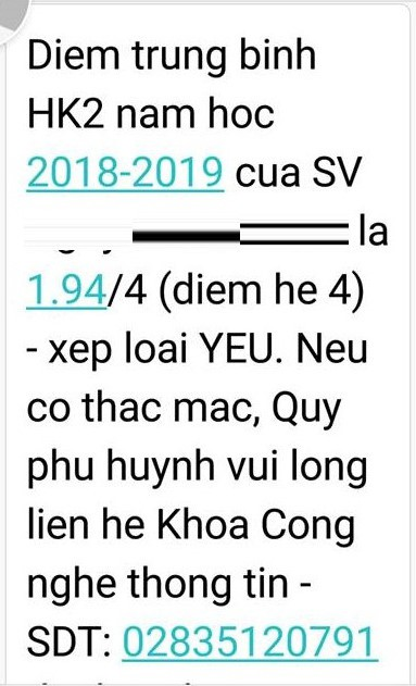 ĐH Công nghệ TP.HCM báo điểm cho phụ huynh, sinh viên bị mắng oan - Ảnh 1.