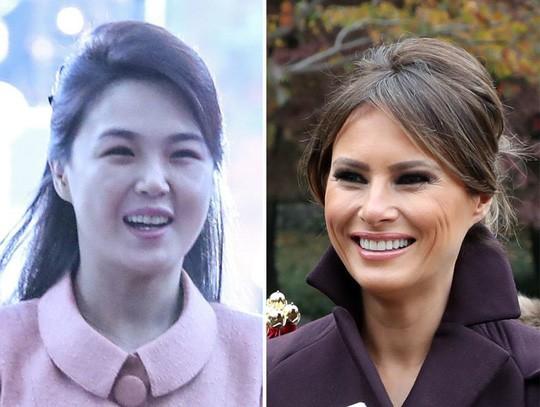 Bà Ri Sol-ju và bà Melania Trump, hai đệ nhất phu nhân Mỹ - Triều. Ảnh: Korea Times