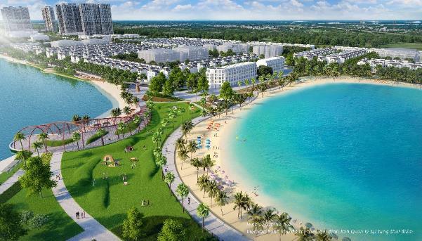 VinCity Ocean Park sở hữu biển hồ nước mặn rộng 6,1ha kế bên hồ lớn trung tâm 24,5ha.