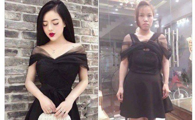 """Bỏ tiền ra mua bộ váy có giá 450 nghìn đồng nhưng cô gái trẻ phải ấm ức """"nuốt cục tức"""" khi quảng cáo và thực tế khác xa nhau hoàn toàn. Trong khi váy mẫu có đường xếp ly ở ngực để tạo độ bồng cho vai thì chiếc váy thật lại như bị thắt nút ở giữa khiến cho những đường vải rủ hai bên vai trông thật vô duyên."""