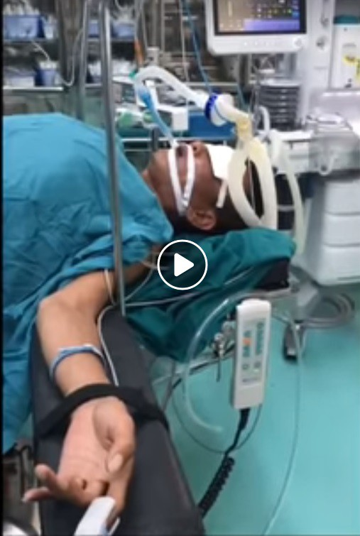Trường hợp bệnh nhân B cấp cứu tại bệnh viện Phổi Trung ương. Ảnh BVCC