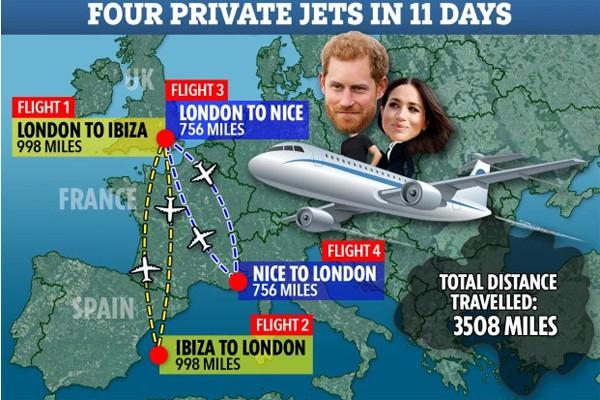 Dùng máy bay riêng hoành tráng, vợ chồng Hoàng tử Harry lại bị chỉ trích tiêu xài hoang phí - Ảnh 3.