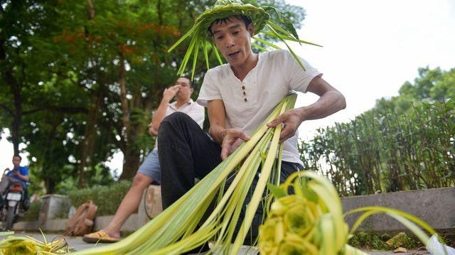 Hô biến lá dừa nước miền Tây thành giỏ hoa, con vật ở Hà Nội, kiếm tiền triệu mỗi ngày - Ảnh 2.
