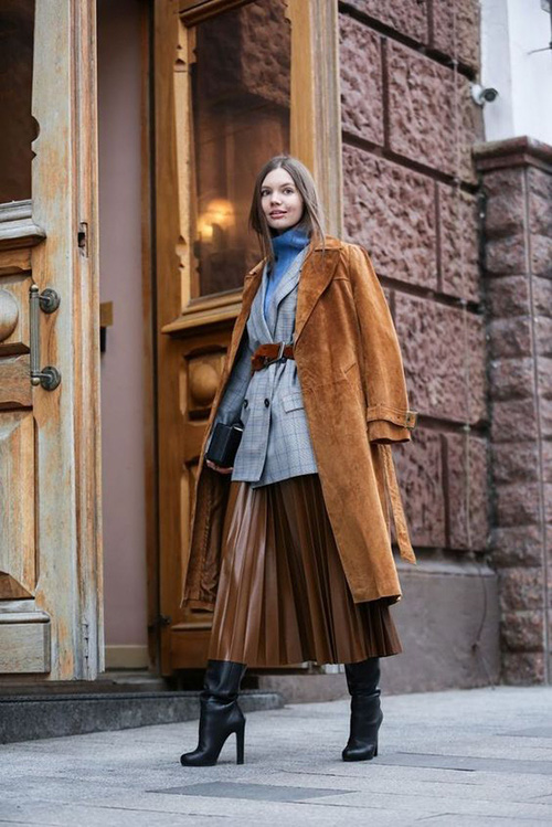 Phối các kiểu áo khoác với chân váy midi - Ảnh 7.