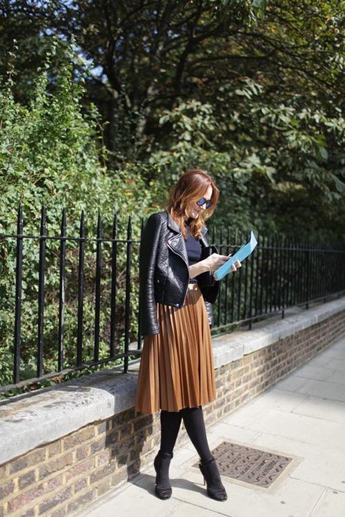 Phối các kiểu áo khoác với chân váy midi - Ảnh 10.