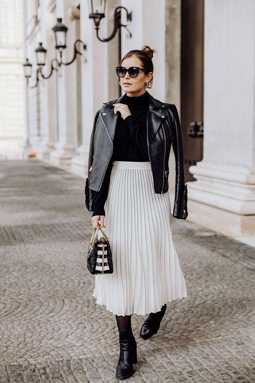 Phối các kiểu áo khoác với chân váy midi - Ảnh 11.