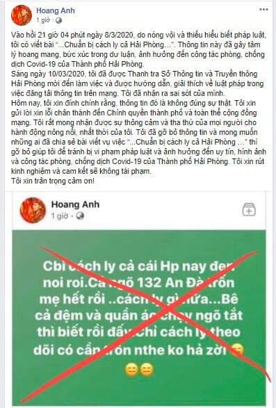 Hải Phòng: Thêm 1 trường hợp đăng thông tin sai sự thật về dịch COVID-19 trên facebook bị phạt 10 triệu đồng - Ảnh 2.