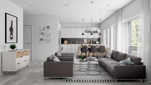 Những mẫu phòng khách liền kề nhà bếp được ưa chuộng nhất hiện nay - Ảnh 4.