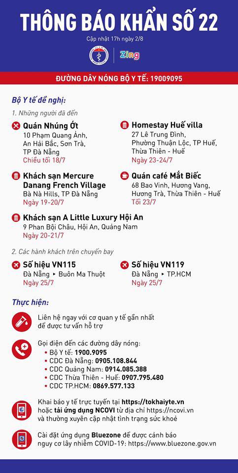 Khẩn cấp tìm người trên chuyến bay, khách sạn, quán cafe ở Huế, Đà Nẵng, Hội An có người mắc COVID-19 - Ảnh 3.