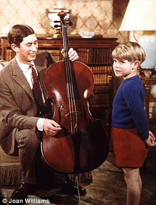Informal: Four-year-old Edward takes an interest in Charless cello practice in the TV documentary