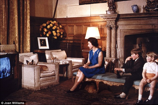 Coronation Street? Queen watches television with Andrew and Edward - and two corgis. Its a large telly, but then its a very spacious room
