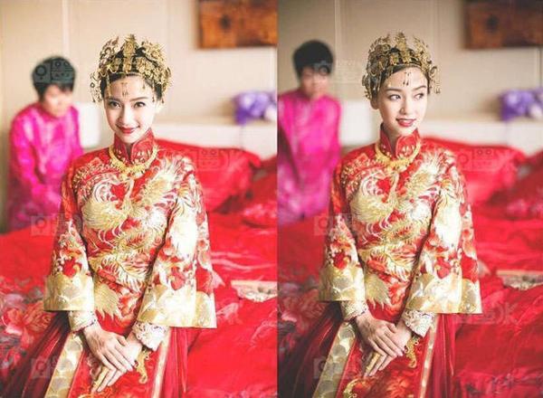Cô dâu đẹp rạng ngời trong trang phục cưới.