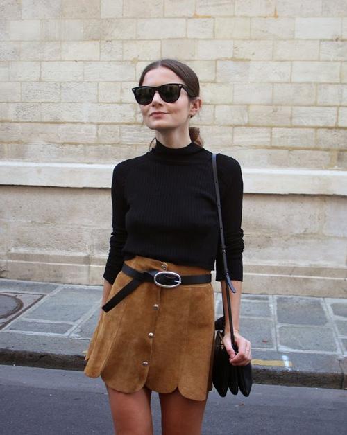 Chân váy da lộn - món đồ mùa thu đông cho phái đẹp