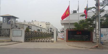 Cổng vào nhà máy của URC tại khu công nghiệp Thạch Thất- Quố Oai, Hà Nội