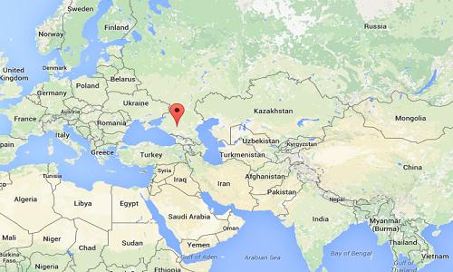 Địa điểm xảy ra vụ đánh bom tự sát vào đồn cảnh sát Nga. Đồ họa: Google Maps.