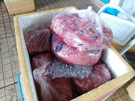 Thạnh, huyện Hóc Môn. Toàn bộ số thịt bò và thịt trâu đều đã bốc mùi hôi thối, mốc và được chủ cơ sở này ngâm ướp hóa chất. (Ảnh minh họa).