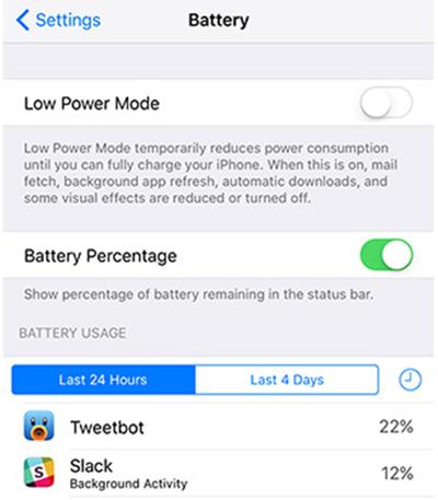 Xem thông tin mức tiêu tốn năng lượng Battery Usage.