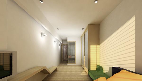 Phòng ngủ với nội thất tối giản sáng màu.