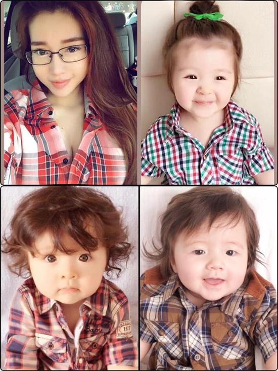 3 mẹ con Elly Trần lăng xê thời trang kẻ sọc cá tính, ấn tượng.