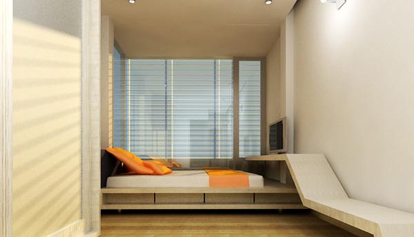 Giường ngủ đơn giản, rộng rãi.