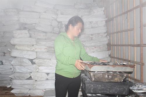 Kho đông lạnh cá nục chứa phenol tại Quảng Trị. Ảnh: Chi cục ATVSTP Quảng Trị