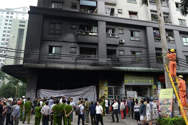 Hiện trường vụ nổ trạm điện nhà CT4A, chung cư Xa La, Hà Đông tháng 10/2015