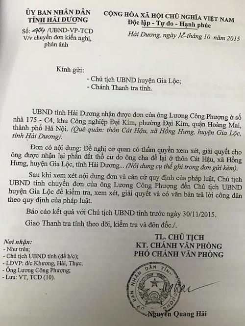 Mặc cho UBND tỉnh Hải Dương nhiều lần có công văn yêu cầu giải quyết dứt điểm khiếu nại của công dân nhưng UBND huyện Gia Lộc vẫn phớt lờ