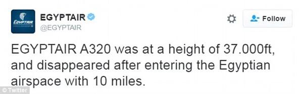 Họ khẳng định rằng các chuyến bay mất liên lạc với kiểm soát không lưu 10 dặm bên trong không phận Ai Cập