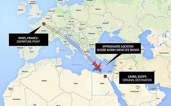 Một bản đồ radar cho thấy con đường của máy bay đi du lịch từ Pháp và sau đó dừng lại ở Biển Địa Trung Hải trước khi đến Ai Cập, nơi mà nó đã mất liên lạc với kiểm soát không lưu.