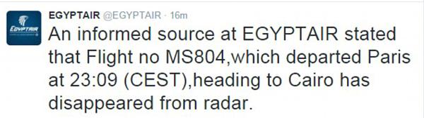 Hãng tiết lộ rằng chuyến bay đã mất tích sau khi đăng thông tin này trên Twitter vào sáng sớm thứ năm.
