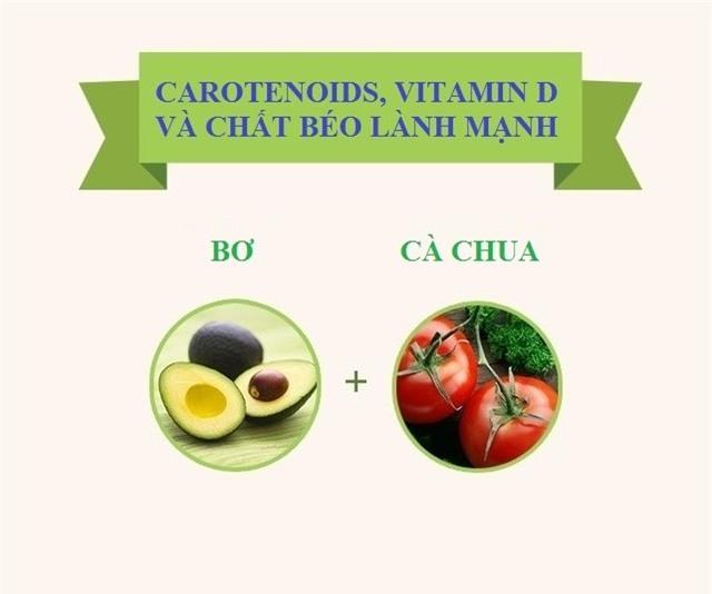 Chất béo trong quả bơ giúp carotenoid và vitamin A trong cà chua phát huy tác dụng hiệu quả.